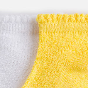 Mayoral Girls 2 Pairs of Openwork Socks Yellow & White
