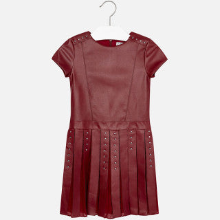 Mayoral Girls Wine Short Sleeve Leatherette Dress