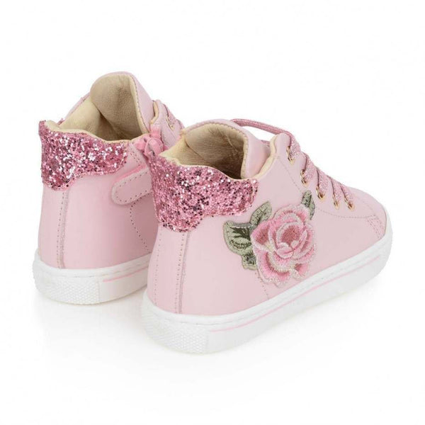 Monnalisa Rose High Top Leather Sneakers