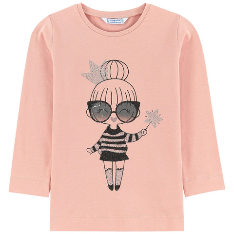 Mayoral Girls Pink Cotton Top with Rhinestones
