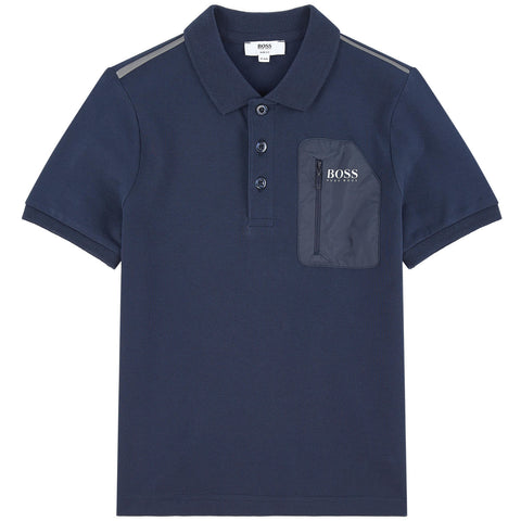 BOSS Boys Navy Cotton Polo Shirt