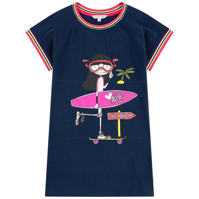 Little Marc Jacobs Girls Blue Cotton Graphic Tunic