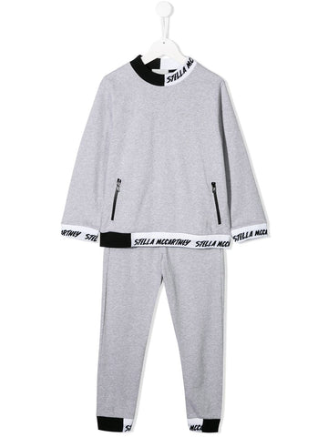Stella McCartney Kids Grey Cotton Logo Tracksuit