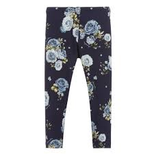 Monnalisa Blue Floral Cotton Leggings