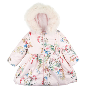 Bimbalo Floral Coat with Fur Hood Pink