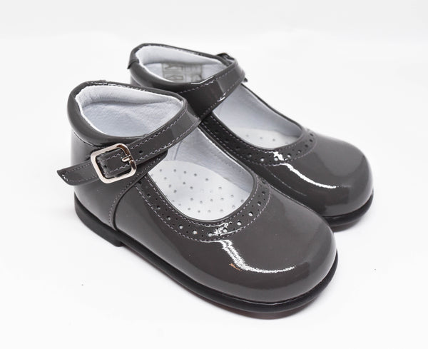 Geppetto's Toddler Girl Grey Patent Leather Mary Jane