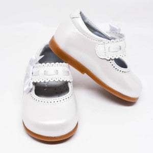 Geppetto's Toddler Girl Pearl White Leather Shoes