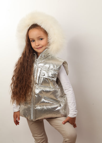 Canzitex Girl Shiny Gold Goose Down Vest with White Fur