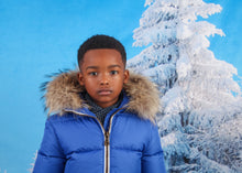 Canzitex Boy Blue Padded Coat With Fur
