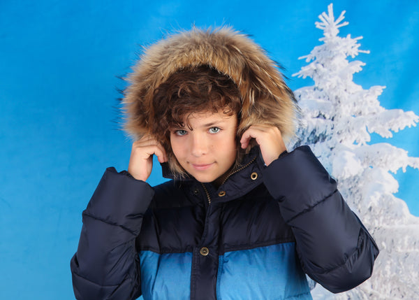 Canzitex Boy Navy Blue Padded Coat With Print and Fur