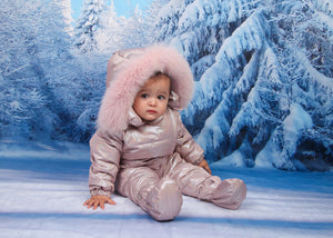 Canzitex Baby Girl Sparkly Pink Snowsuit with Fur
