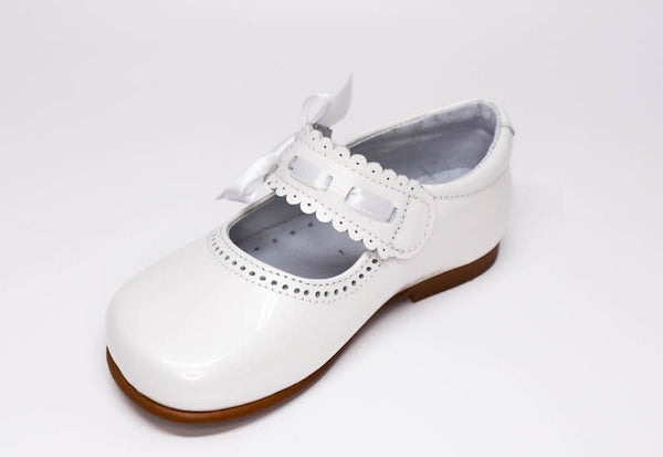 Gux's Girl White Patent Leather Mercedes Shoes