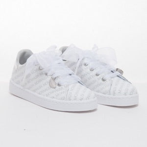 Monnalisa Girls Leather Logo Trainers