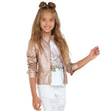 Mayoral Leatherette Chic Peplum Jacket Rose Gold