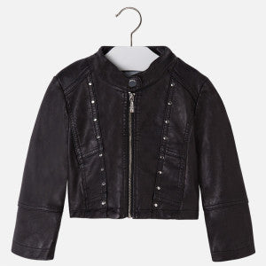 Mayoral Girl Black  Leatherette Jacket with Rivets