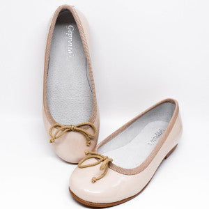 Geppetto's Girls Nude Patent Leather Ballerina Shoes