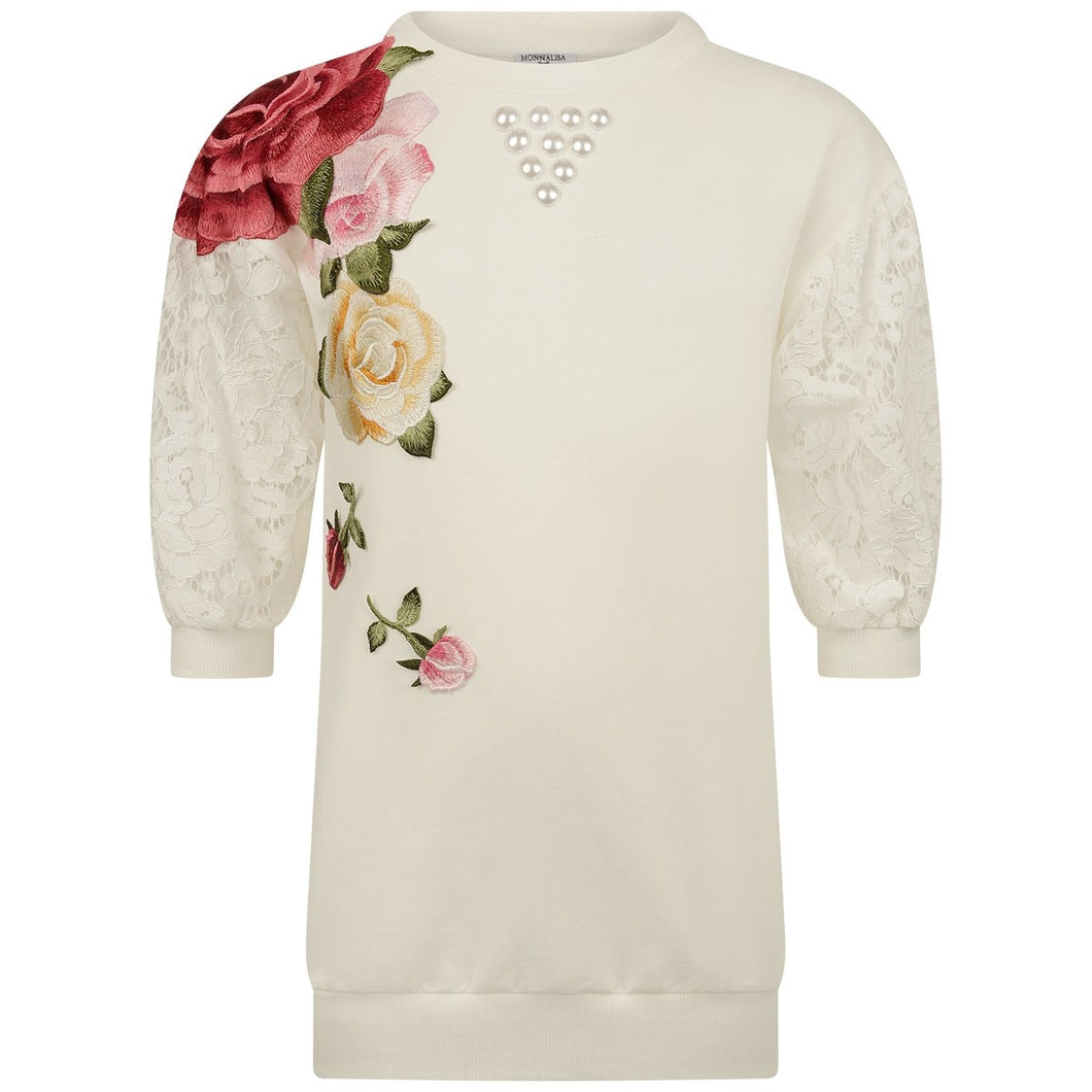 MONNALISA Ivory Embroidered Rose Fleece & Lace Dress