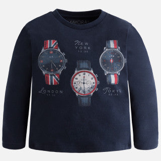 Mayoral Long Sleeve Navy Watch T-Shirt