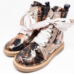 Gux's Venecia Girls Black & Rose Gold Patent Leather