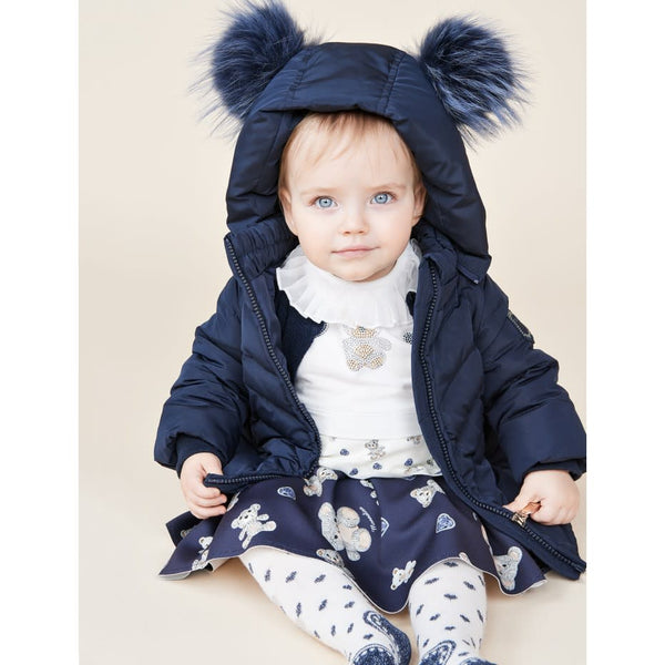 Monnalisa Baby Girls Navy Down Coat with Furry Pom Poms