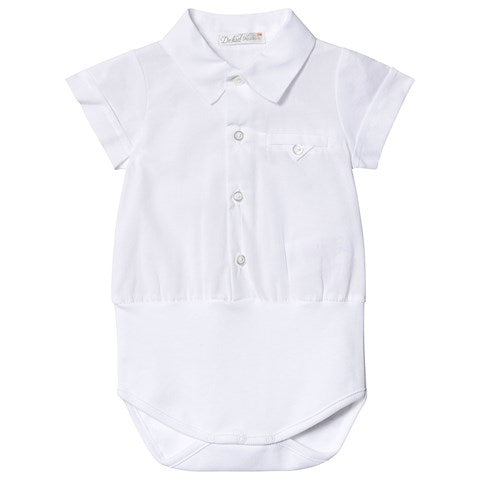 Dr. Kid Baby Boys White Cotton Bodysuit
