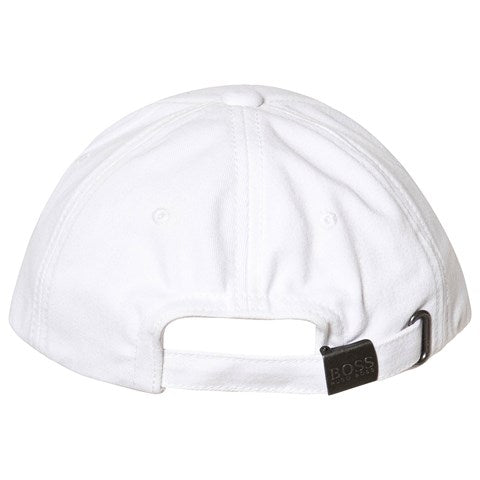HUGO BOSS Boys White Twill Baseball Cap