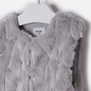 Mayoral Girl Faux Fur Vest Grey