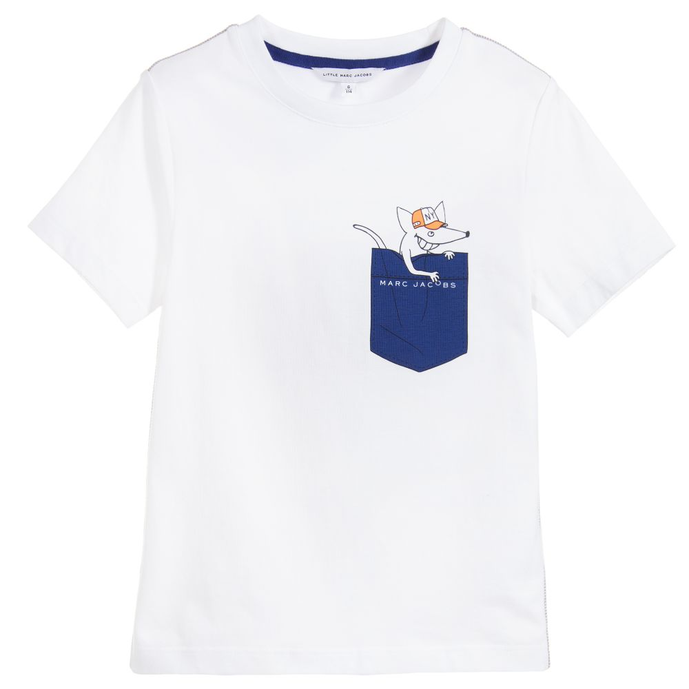 Little Marc Jacobs Boys White Cotton T-Shirt