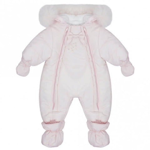 Bimbalo Dual Zip Fur Luxury Snowsuit Baby Pink