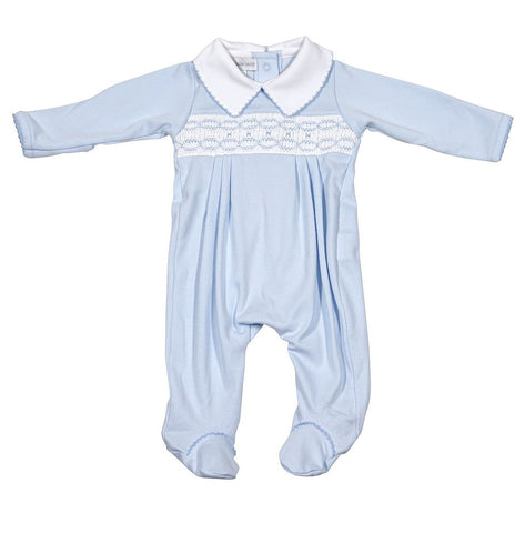 Magnolia Baby Cora and Cole's Blue Smocked Collared Footie