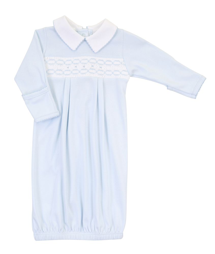 Magnolia Baby Cora And Cole's Blue Smocked Collared Gown