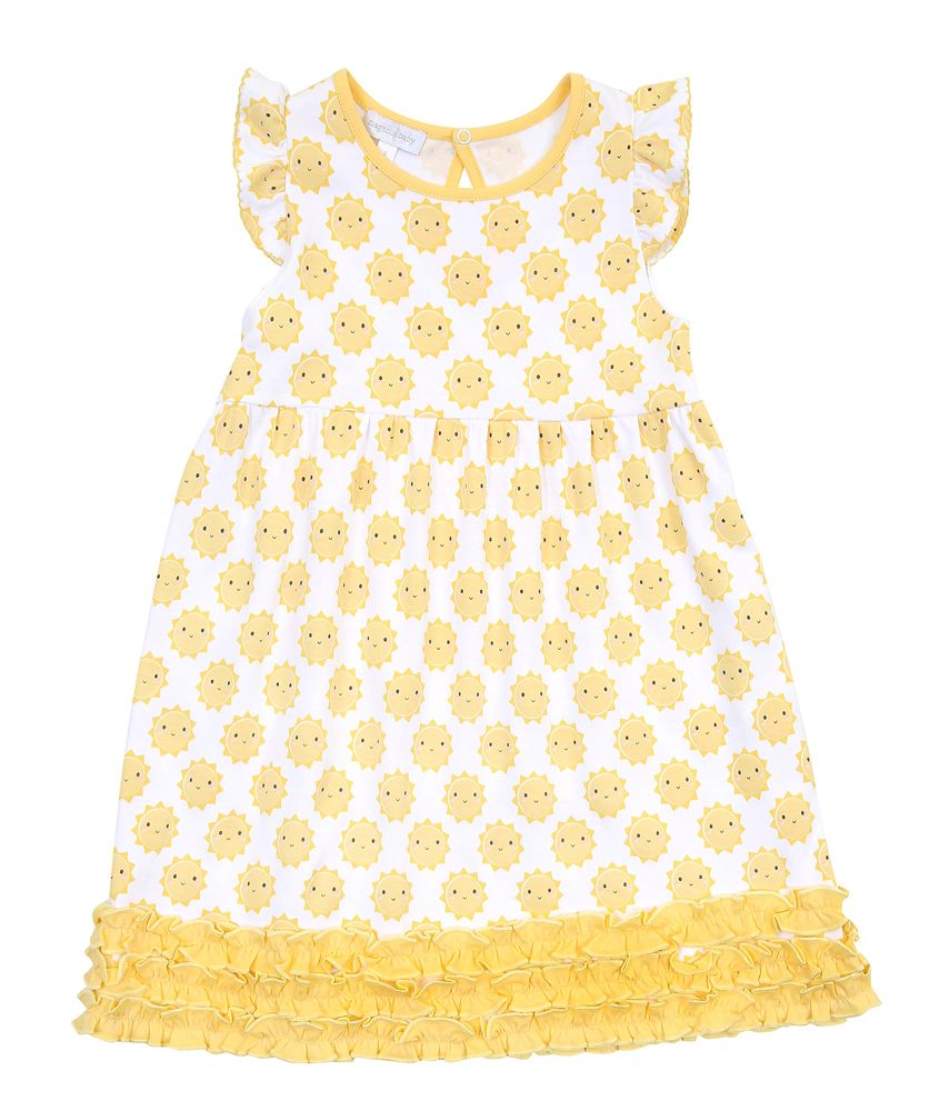 Magnolia Baby Yellow Sunshine Printed Ruffle Dress