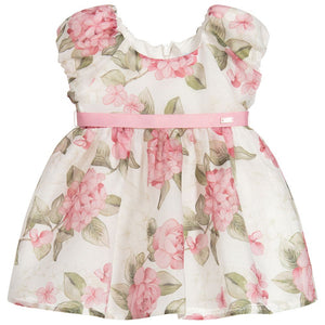 Mayoral Girls Pink & Ivory Floral Dress