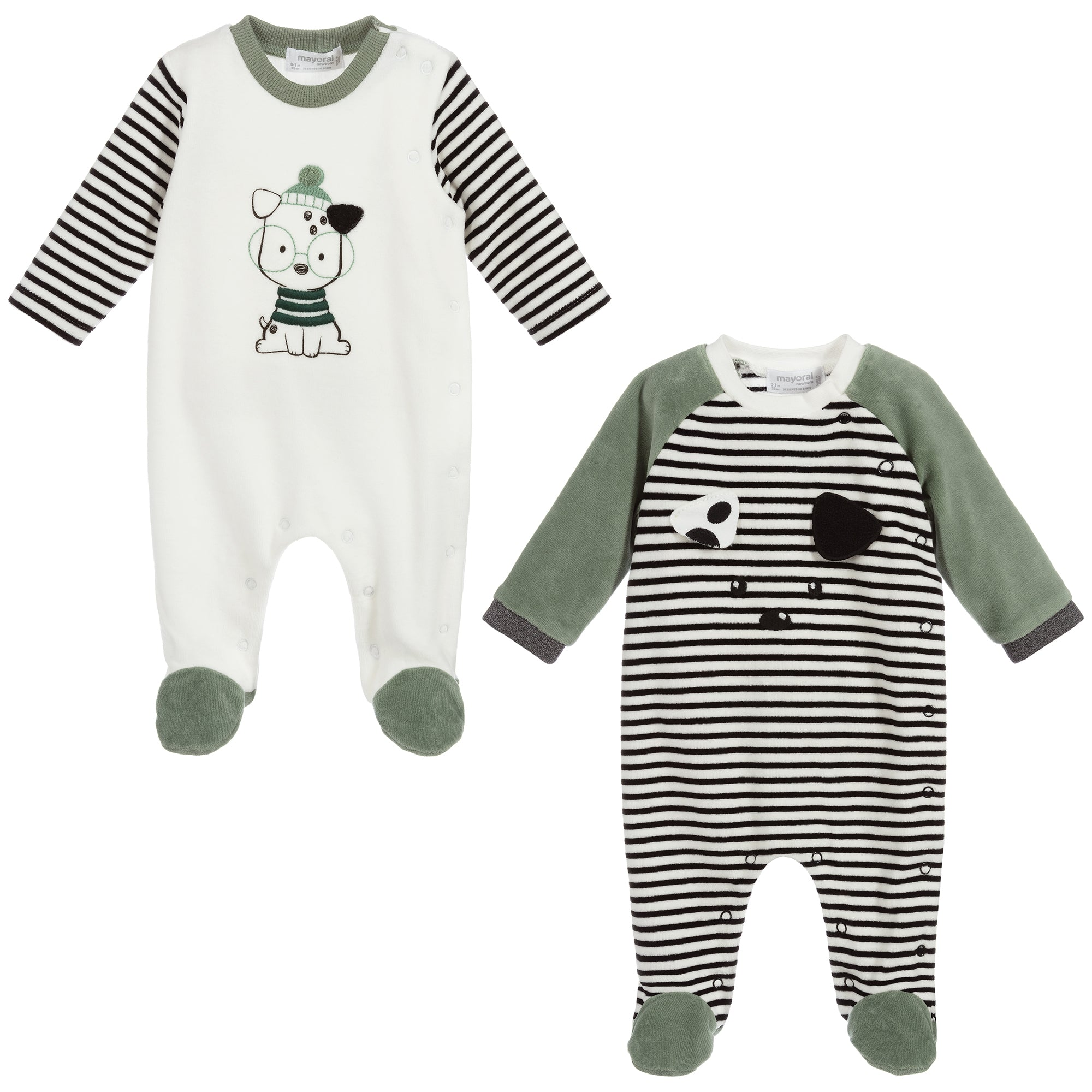 Mayoral Newborn Velour Striped Babygrow
