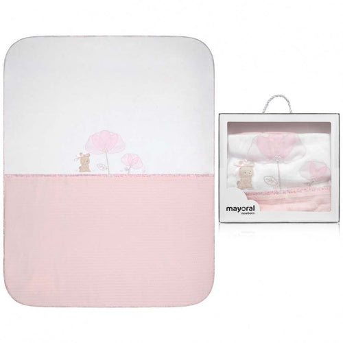 Mayoral Newborn Pink Cotton Bunny Blanket