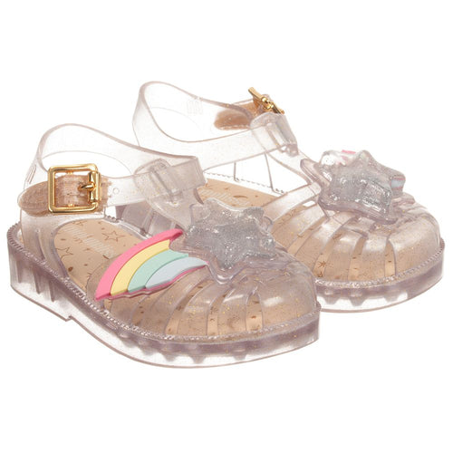 c86394e05420 Mini Melissa Glitter Rainbow Jelly Sandals