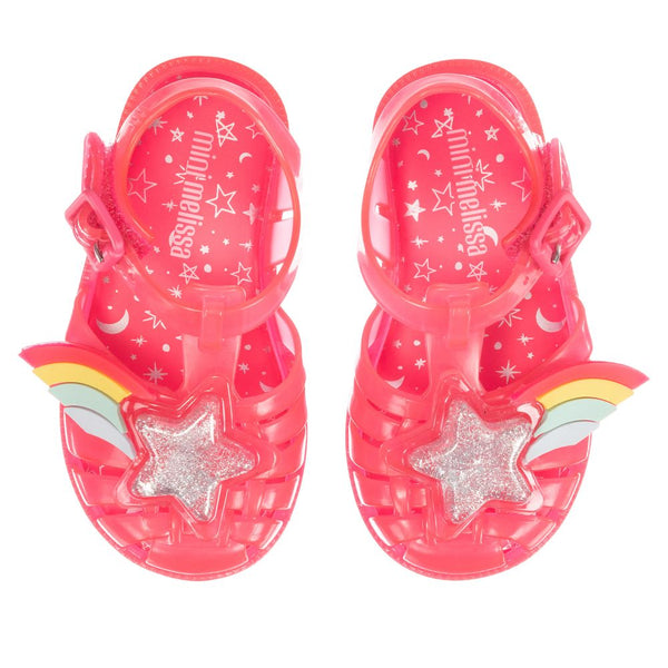 Mini Melissa Pink Jelly Rainbow Sandals