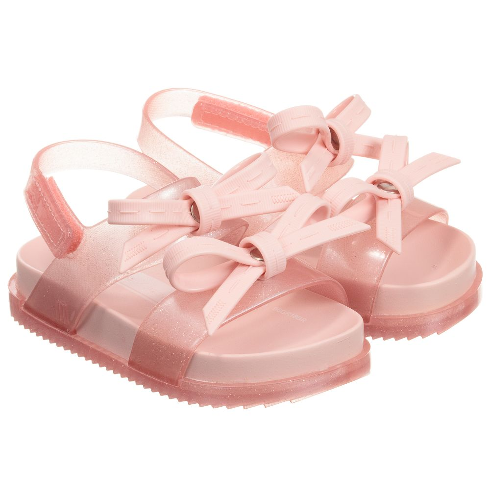 Mini Melissa Pink Bow Jelly Sandals