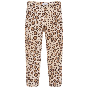 Monnalisa Girls Leopard Beige Cotton Leggings