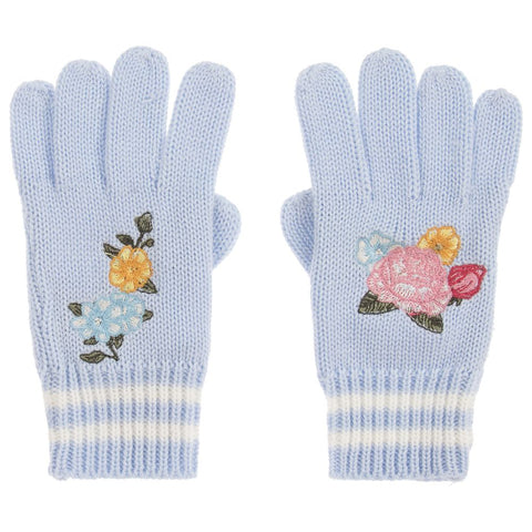 Monnalisa Girls Blue Wool Blend Gloves