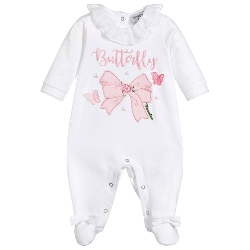 Monnalisa Bebé Girls Cotton Butterfly Babysuit