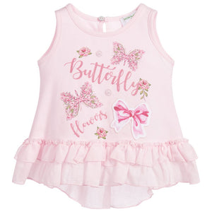 Monnalisa Bebé Girls Pink Butterfly Cotton Top
