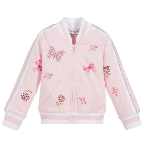 Monnalisa Bebé Girls Pink Butterfly Zip-Up Top