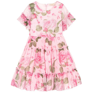 Monnalisa Chic Girls Pink Roses Chiffon Dress