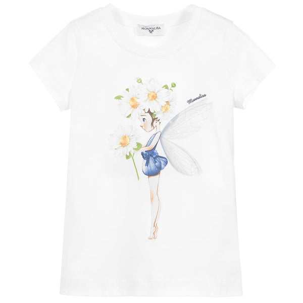 Monnalisa Girls White Cotton Daisy Girl T-Shirt