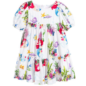 Monnalisa Girls White Disney Dress