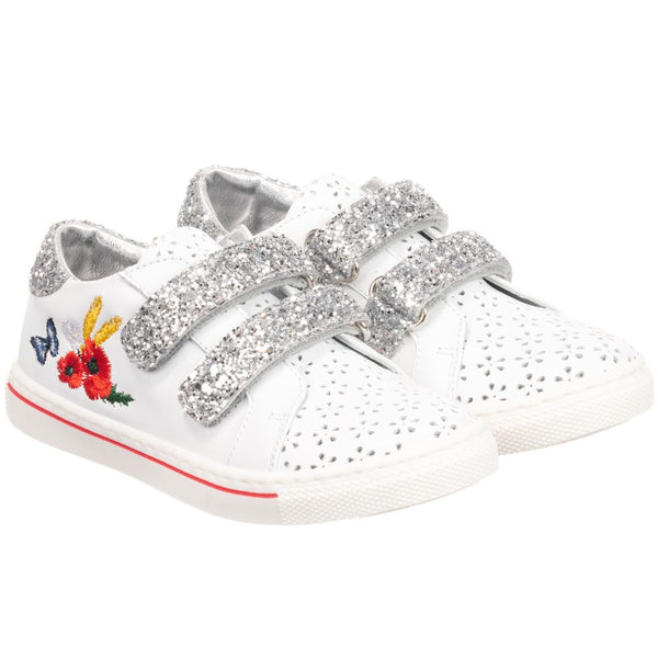 Monnalisa Girls White Leather Trainers