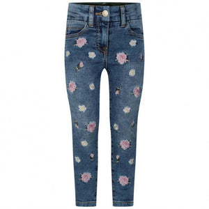 Monnalisa Girls Flower Denim Jog Jeans