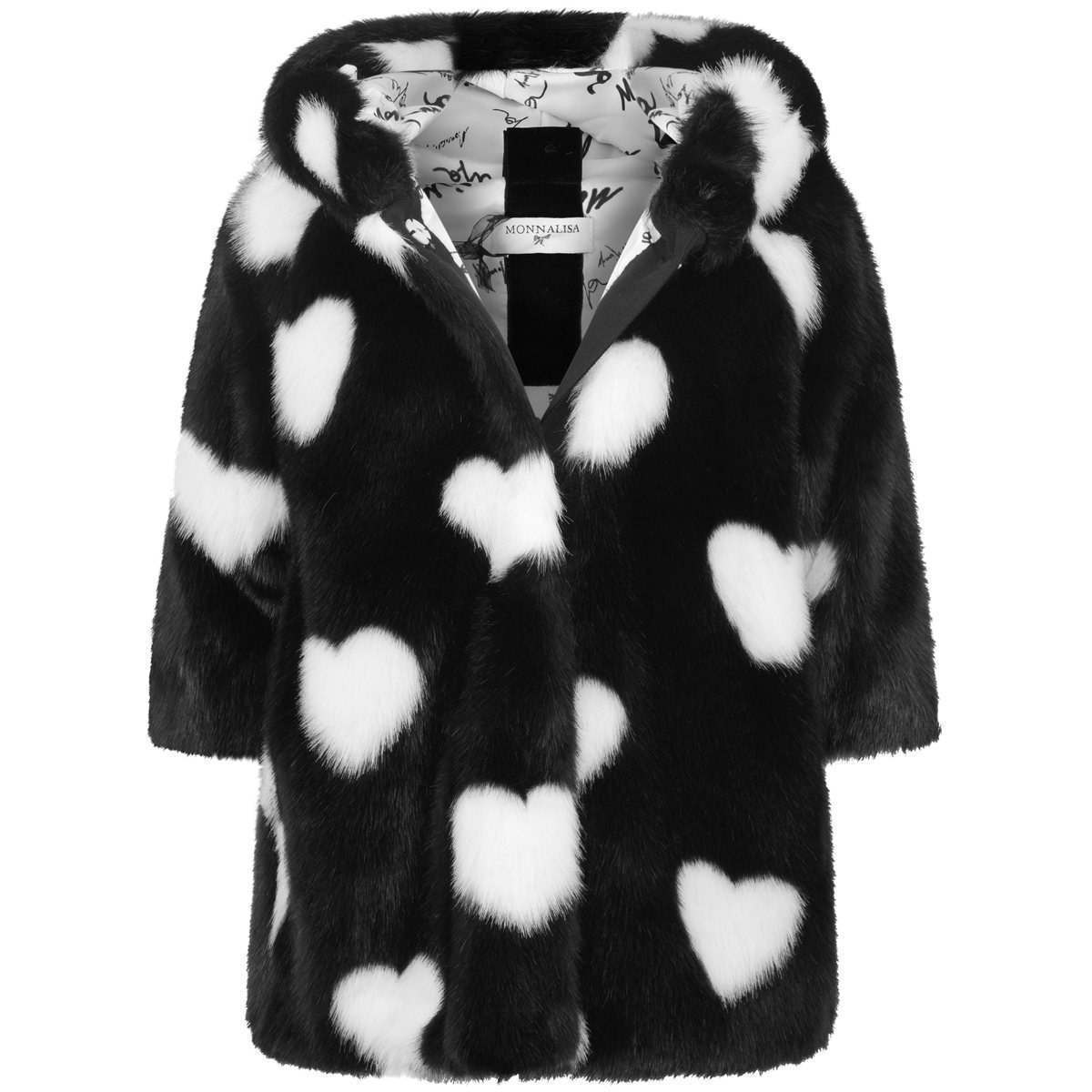 Monnalisa Black Heart Faux Fur Coat