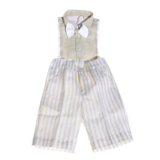 Bimbalo Beige/White Linen Summer Boy Set
